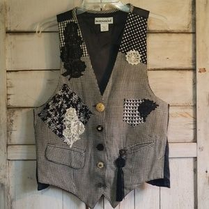 Vintage 80s 90s Black White Adorned Vest OS